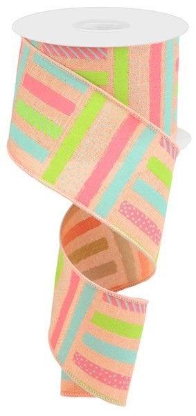 "2.5""X10yd Brush Stroke Stripes/Royal Color: Peach/Pnk/Teal/Lt Grn"