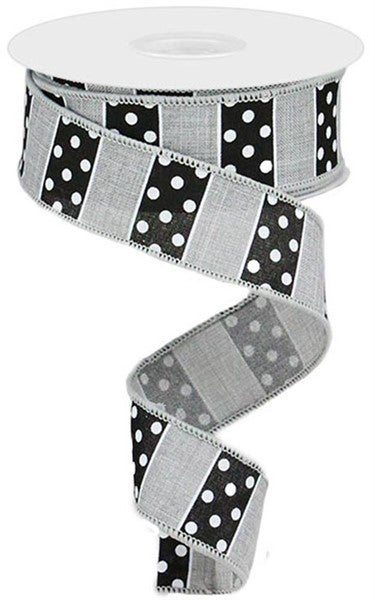 "1.5""X10yd Polka Dot/Stripes Color: Lt Grey/Black/White"