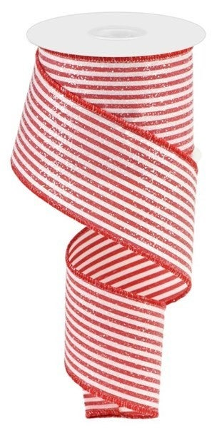 "2.5""X10yd Vertical Stripes W/Glitter Red/White"