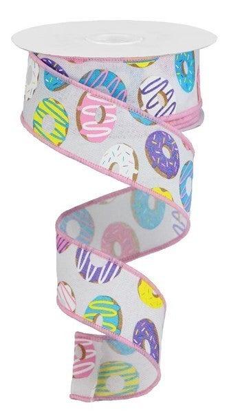 "1.5""X10yd Donut Ribbon On Royal Color: Wht/Brn/Blue/Prpl/Pnk/Ylw"