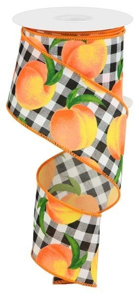 """2.5""""X10yd Peaches/Gingham On Pg Blk/White"""