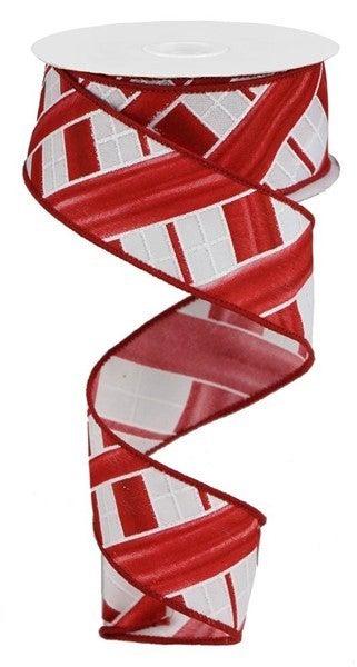 "1.5""X10yd Two Tone Stripe Check White/Red"