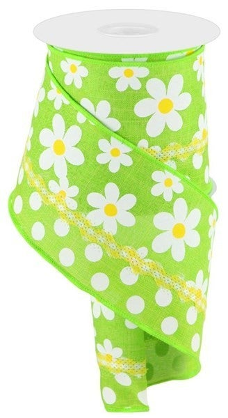 "4""X10yd 3-In-1 Flower Daisy/Multi Dots Lime"