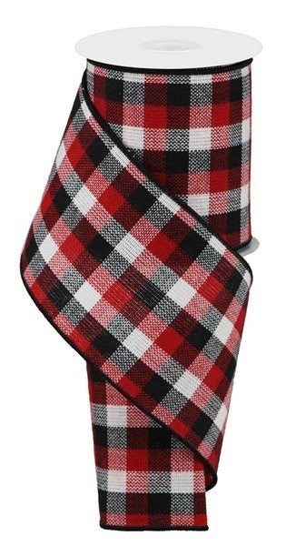 """4""""X10yd Woven Check Black/Red/White"""