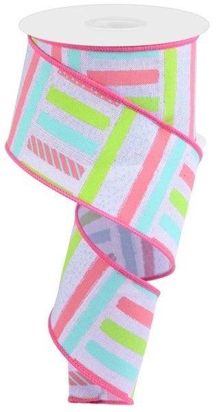 """2.5""""X10yd Brush Stroke Stripes/Royal Color: Lt Lav/Pnk/Teal/Lt Grn"""
