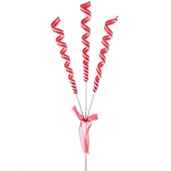 """16"""" SUGARED RIBBON CANDY X3 SPRAY Red/White"""