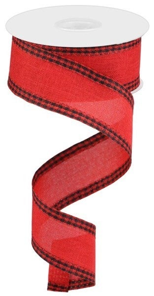 "1.5""X10yd Royal Burlap Gingham Edge Red/Black"