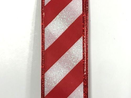 "White Glitter Satin/Red Candy Cane Stripes 2.5""x50yd"