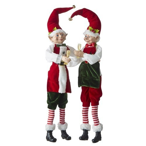 """Country Christmas 24"""" POSABLE ELF WITH CHAMPAGNE GLASS"""