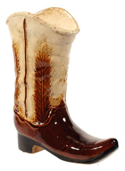 "9.5""H X 7.5""L Cowboy Boot Dark Brown/Cream"