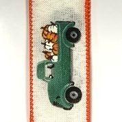"""Ivory Linen/Teal Truck-Pumpkins 1.5""""x10yd"""