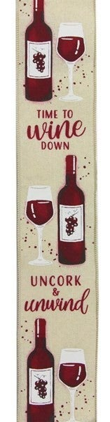 "2.5""X10yd Wine Bottle On Royal Cream"