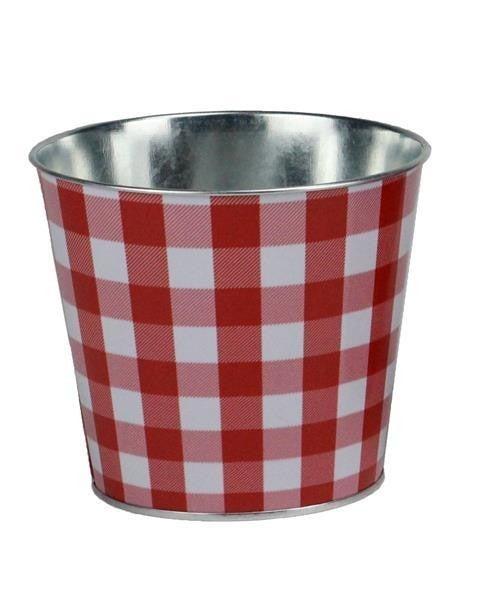 "5""Diax4.5""H Check Tin Pot, Waterproof Red/wh"