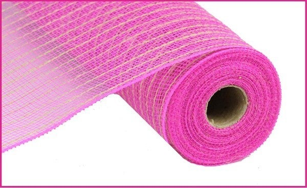 "10.5""X10YD POLY/JUTE MESH Color: Dark Pink/Natural"