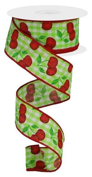 "1.5""X10yd Cherries On Gingham Check Green\/white"