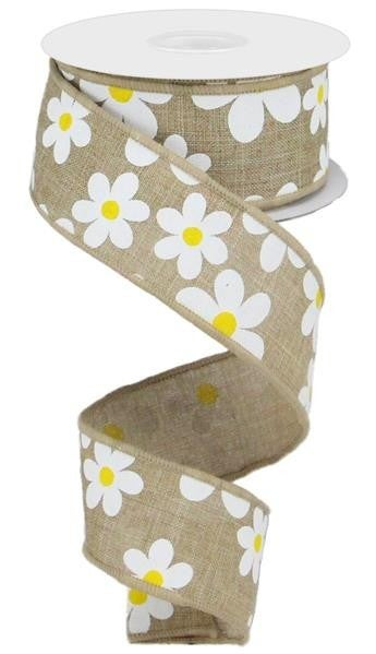 "1.5""X10YD FLOWER DAISY PRINT ON ROYAL LT BEIGE/WHITE/YELLOW"