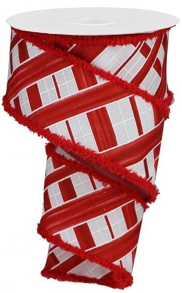 """2.5""""X10yd Two Tone Stripe Check/Drift White/Red"""
