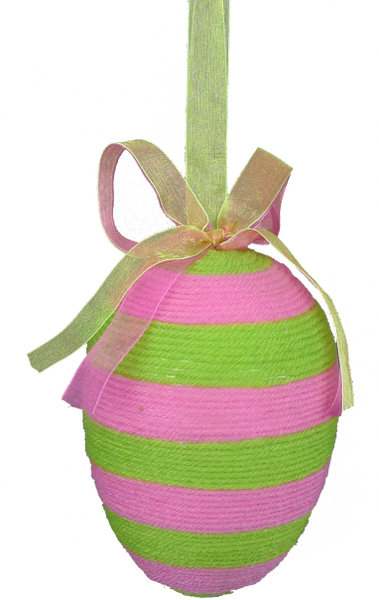 EASTER EGG ORNAMENT 5.5X3.5X3.5 Pink/Green