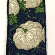 """Navy Linen/Ivory Pumpkins 2.5""""x10yd"""