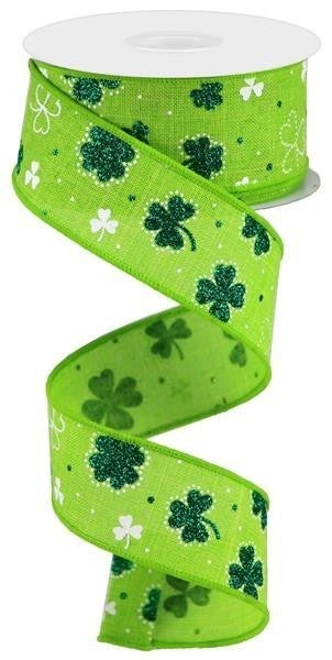 "1.5""X10yd Glitter Shamrock On Royal"
