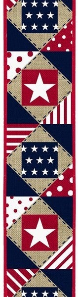 "2.5""X10yd Patriotic Patchwork/Royal Natural"