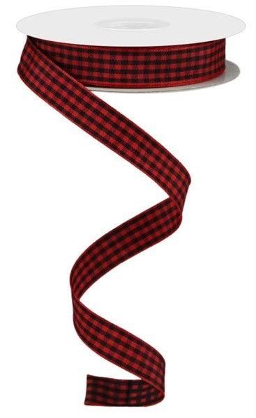 """0.625""""X10yd Mini Gingham Check Ribbon Red/Black"""