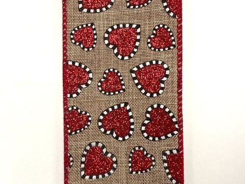 "NAT LINEN/RED BLK-WH DASH EDG HEARTS, 2.5""X10Y"
