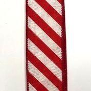 """White Linen/Red Diagonal Stripes 1.5""""x10yd"""