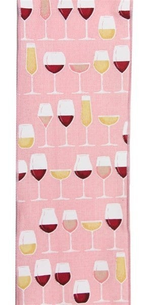 "4""X10yd Wine Glasses On Royal Burlap Color: Rose/Crm/Wht/Gld/Pnk"