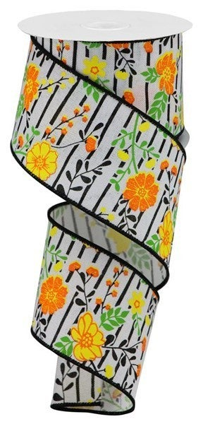 """2.5""""X10yd Floral Lines On Royal white/orange/yellow"""