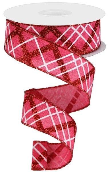 "1.5""X10yd Glitter Diagonal Plaid/Royal Hot Pink"