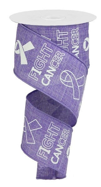 """2.5""""X10yd Fight Cancer On Royal Color: Lavender/White"""