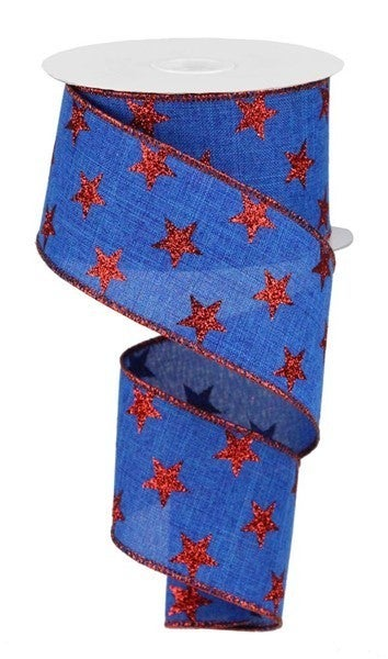 "2.5""X10yd Stars On Royal Royal Blue/Red"
