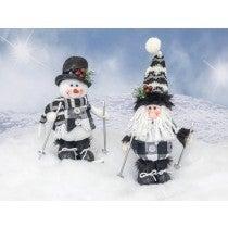DOTTED PLAID SANTA/SNOWMAN SKIER