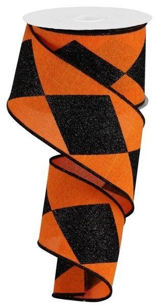 "2.5""X10yd Bold Harlequin On Royal Orange/Black"