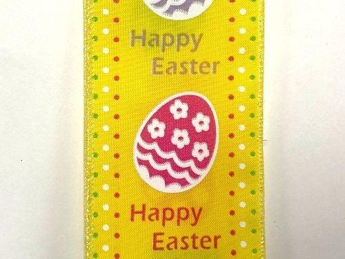 """YLW STN/HAPPY EASTER EGGS, 2.5""""X10Y"""