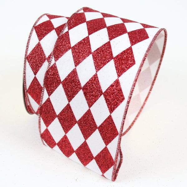 "GLITTER JESTER DIAMONDS, RED & WHITE, 4"" X 10YD Red/White"