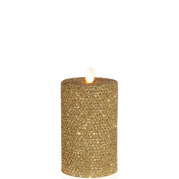 "3.25""X6"" Moving Flame Gold Glittered Honeycomb Pillar"