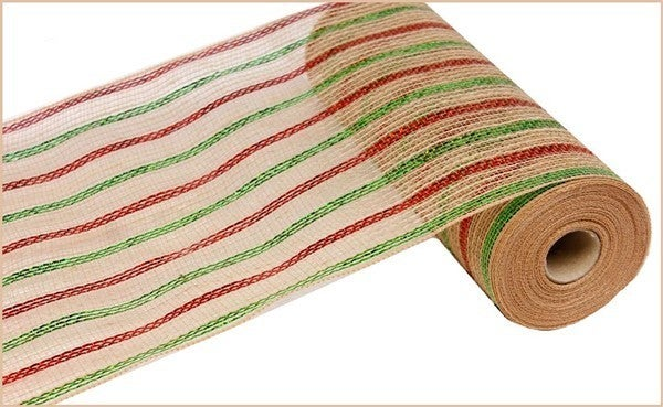 "10.5""X10yd Poly/Jute/Laser Metallic Mesh Color: Laser Red/Lime/Natural"