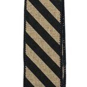 "Natural Linen/Black Diagonal Stripes 1.5""x10yd"