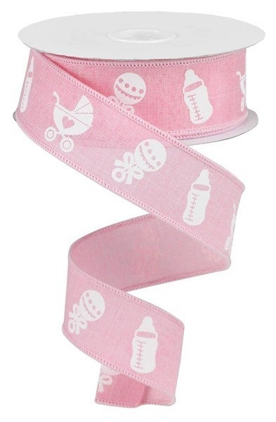 """1.5""""X10yd Baby Items On Royal Light Pink"""