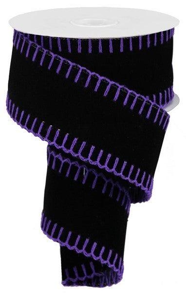 "2.5""X10yd Velvet W/Stitch Edge Black/Purple"