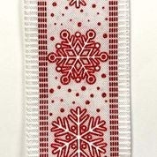 "White Linen/Red/Snowflae Dash Edge 2.5""x10yd"