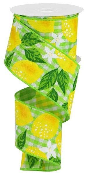 "2.5""X10yd Lemons On Woven Check Green/White"