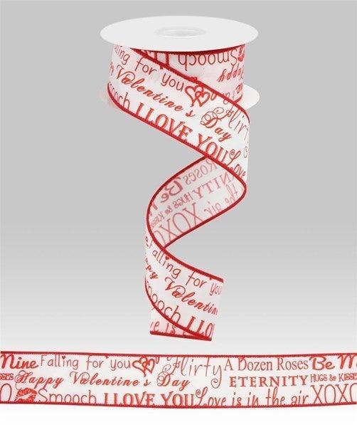 """1.5""""X10yd Valentine Sm Print White/Red"""