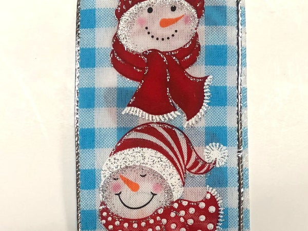 "Light Blue-White Chex/Snowmen 2.5""x10yd"