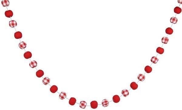 6'L Knitted/Check Fabric Ball Garland Red/White