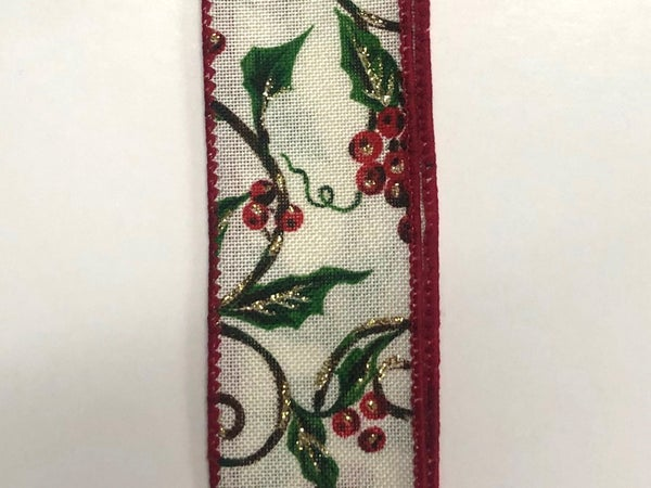 "Cream Linen/Holly-Glitter Branches 1.5""x10yd"