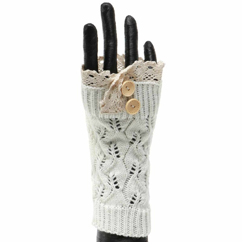 CREAM KNIT FINGERLESS GLOVE WITH LACE AND BUTTONS
