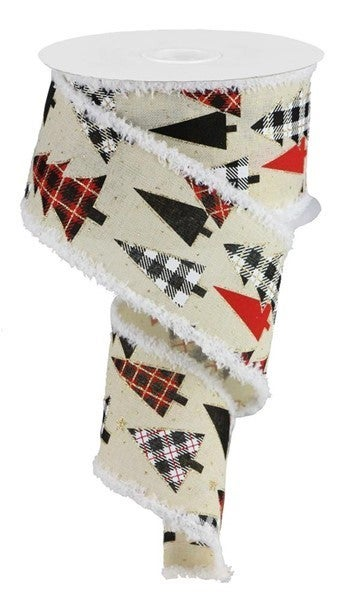 "2.5""X10yd Plaid Trees On Royal/Drift Color: Cream/Red/Gold/White"